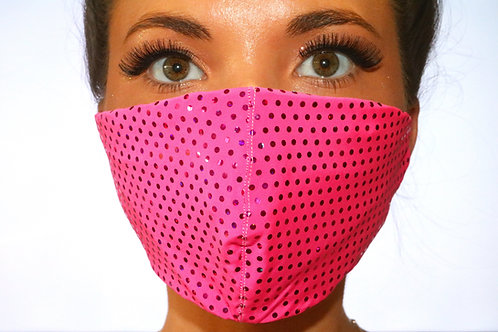 Neon Pink Sparkle Dot Face Mask