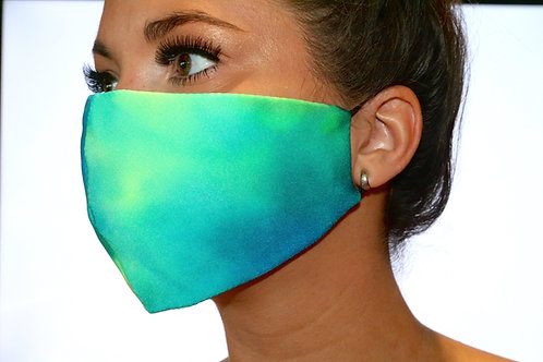 Blue and green tie dye Face Mask