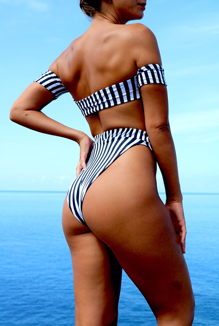 Navy and White Stripe High Rise Peakini Bottoms