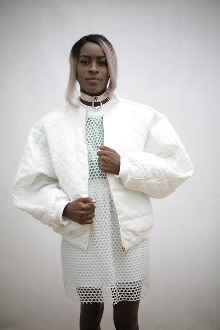 All white bomber jacket