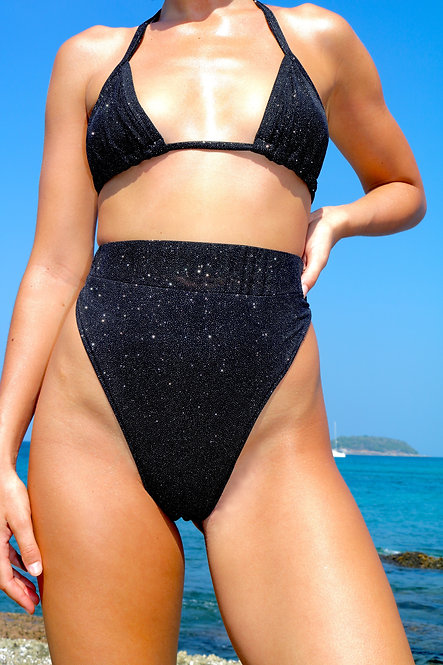 Black Sparkle High Rise Peakini Bottoms