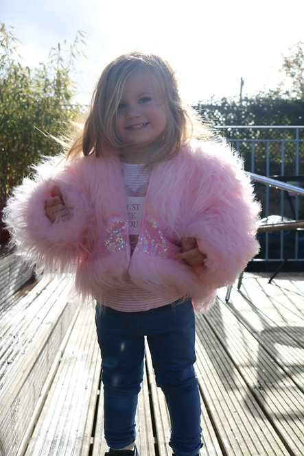 Pea Baby Pink Fur Coat With Pink Sequin Panel