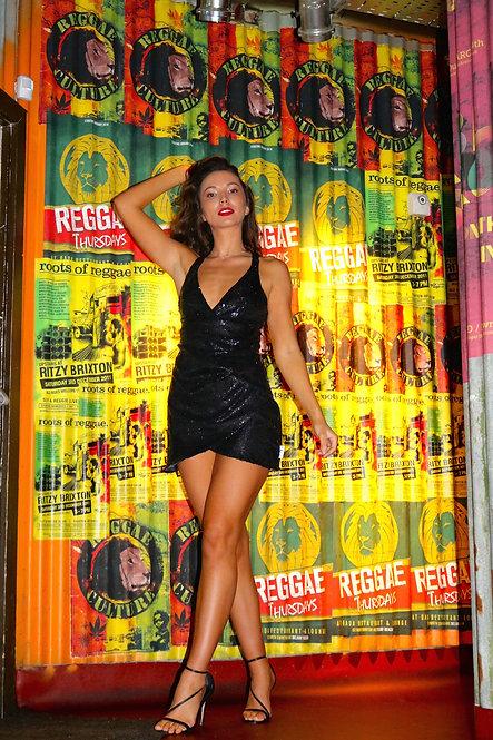 Black sequin mini dress with criss cross back Pea Street