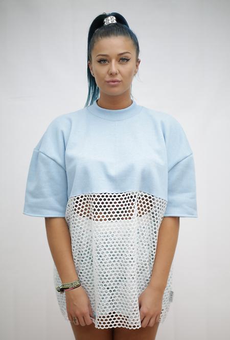 Baby blue jumper, mesh oversized top