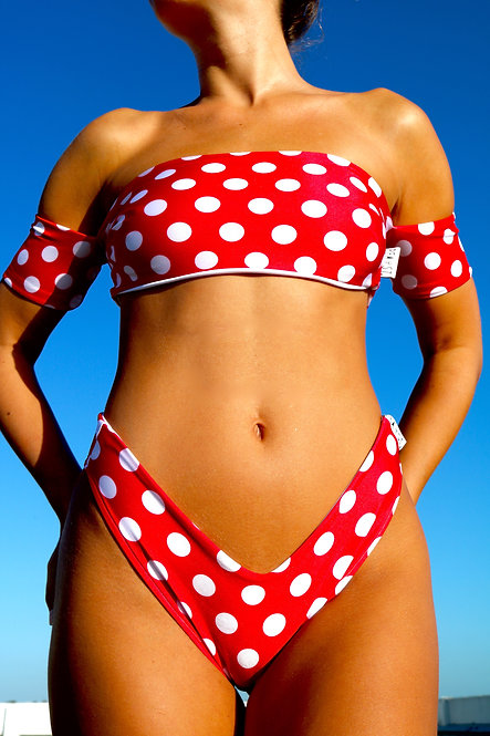 Red and White Polka Dot Peakini Boob Tube