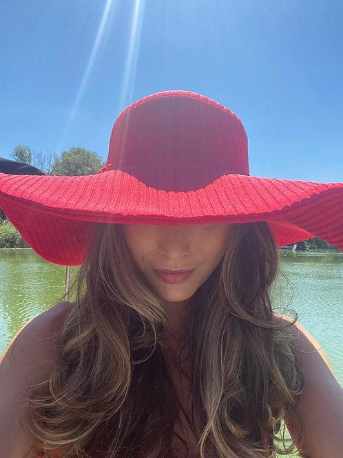 Red Ribbed Sun Hat Pea Street