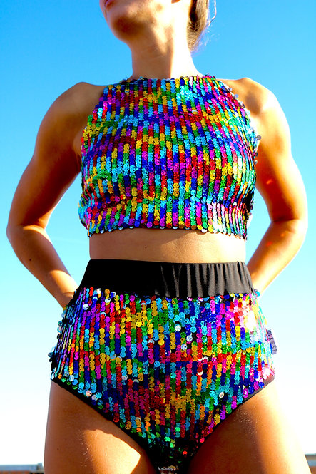 Rainbow Sequin Halter Neck Crop Top