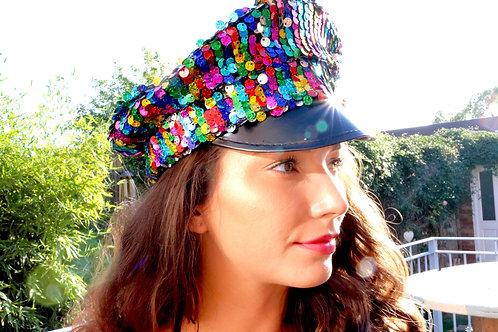 Rainbow Sequin Military Hat Handmade in UK LIMITED EDITION