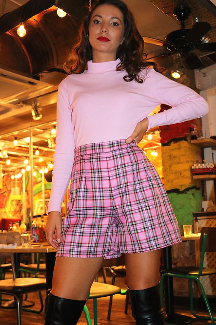 Pink Tartan Tailored High Waisted Shorts Pea Street