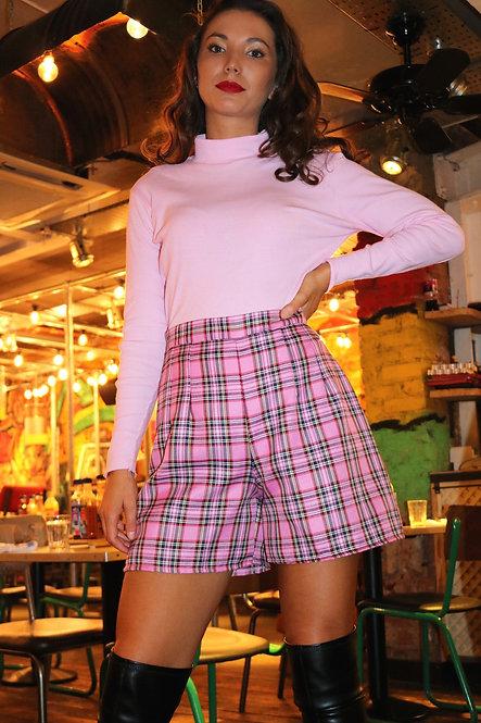 Pink Tartan Tailored High Waisted Shorts Pea Street