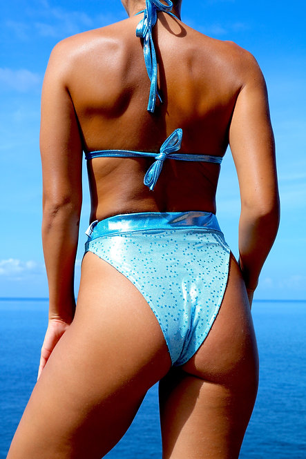 Light Blue sparkle net High Rise Peakini Bottoms