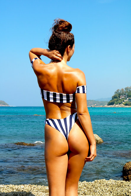 Navy and white stripe Peakini Thong Bottoms
