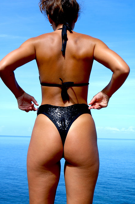 Black Sequin High Rise Peakini Thong Bottoms