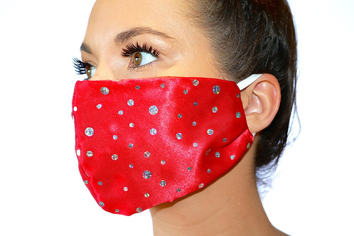 Red Satin with silver sparkle dots Face Mask
