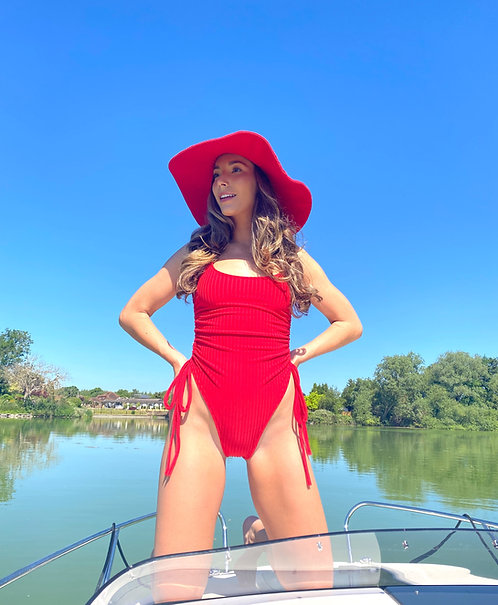Red Ribbed Ruched High Rise Swimsuit Pea Street
