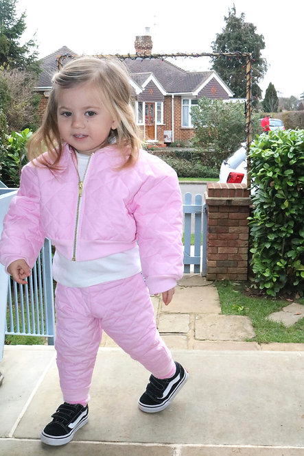 Pea Baby Kids Baby Pink Quilted Bomber Jacket With Gold Zip Unisex