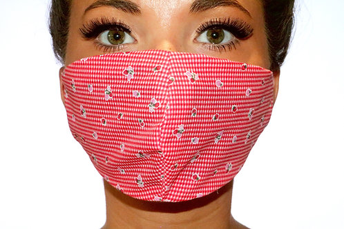 Red and White check floral Face Mask