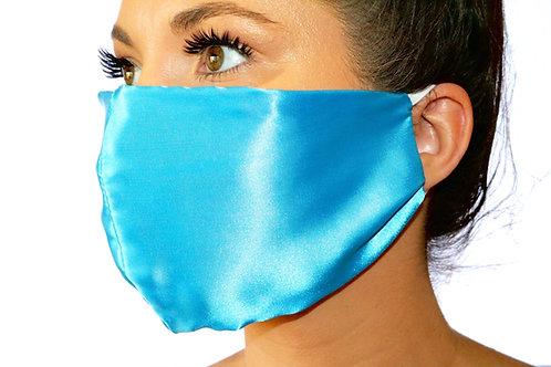 Blue Satin Face Mask