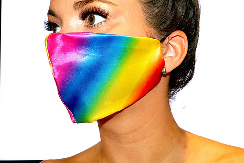Rainbow satin Face Mask