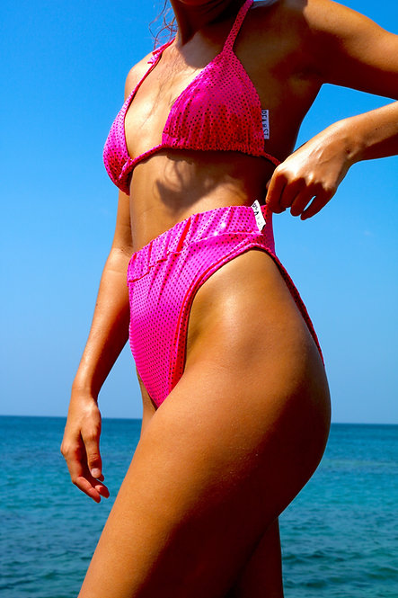 Hot Pink Dot Sparkle High Rise Peakini Bottoms