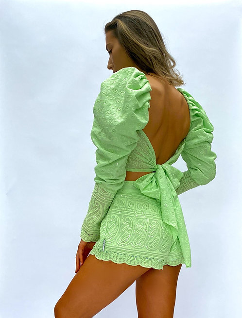 Mint Green Mutton Sleeve Crop Top Broderie Anglaise Pea Street