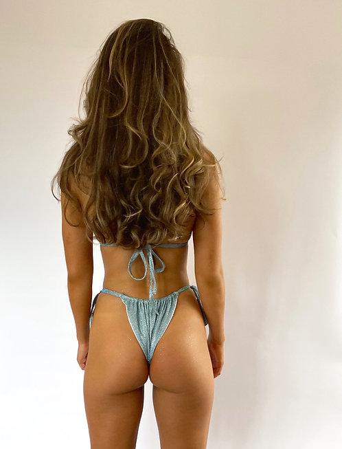Blue Sparkle Ruched Tie Up Bikini Bottoms Pea Street