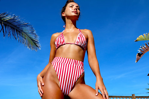 Red and White Stripe High Rise Peakini Bottoms