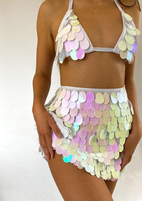 White Iridescent Large Sequin Mini Skirt