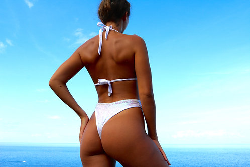 White Sequin High Rise Peakini Thong Bottoms