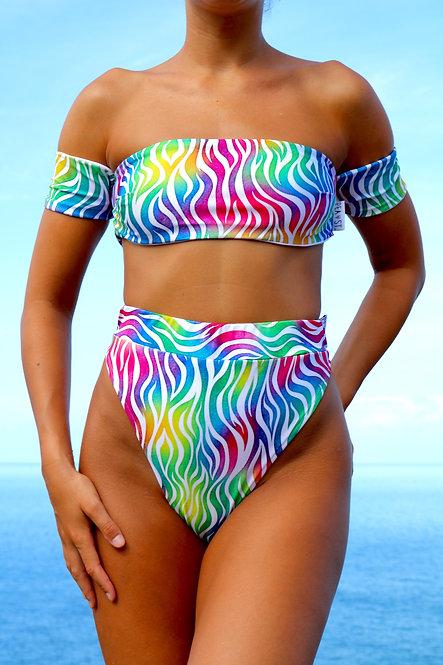Tiger Rainbow print Peakini Boob Tube