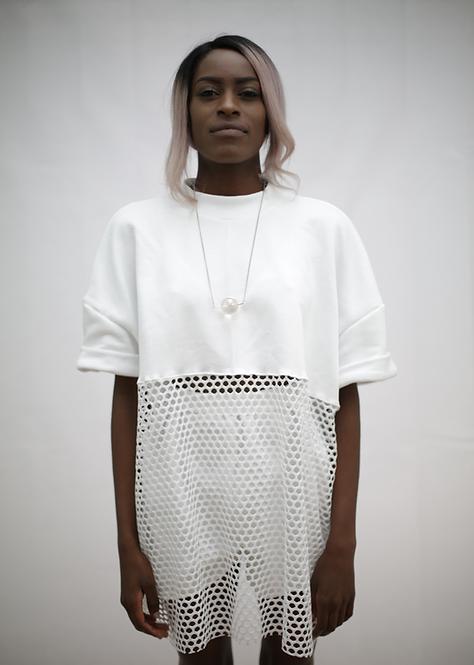 White jumper, mesh oversized top
