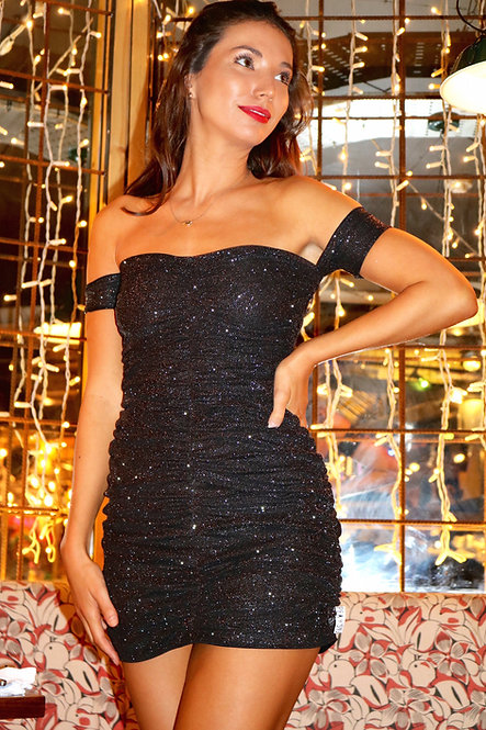Black Sparkle Ruched Body-Con Dress Pea ST
