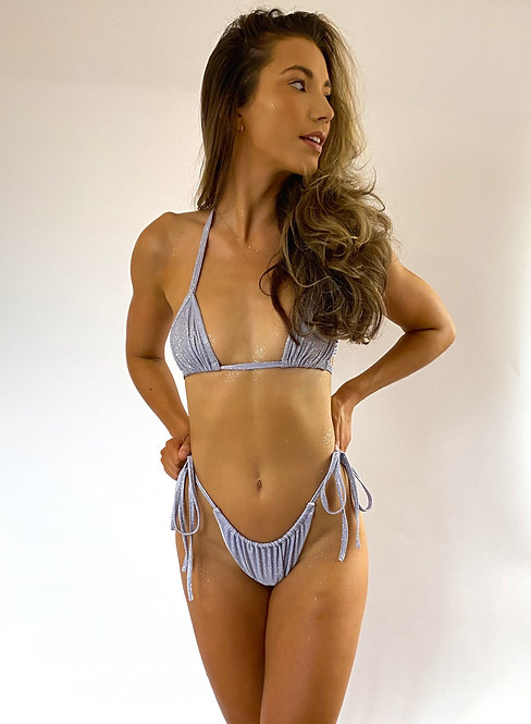 Lilac Sparkle Ruched Tie Up Bikini Bottoms Pea Street