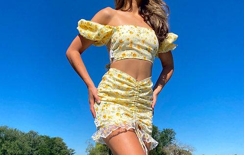 Yellow Flower Frill High waisted skirt Pea Street