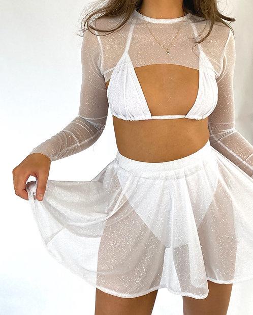 White Sheer Sparkle Mini Skater Skirt