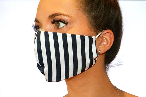 Navy and White Stripe Face Mask