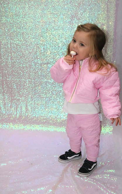 Pea Baby Kids Baby Pink Quilted Trousers