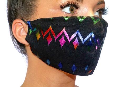 Black multi colour diamond Face Mask