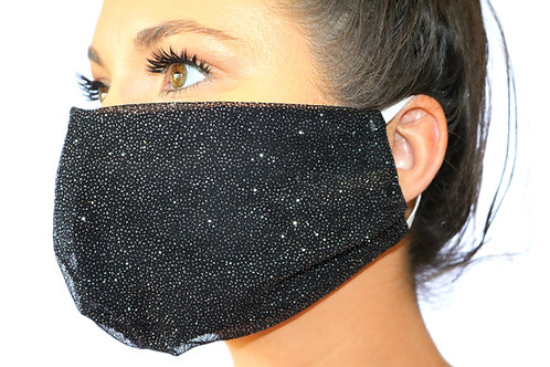 Black sparkle with black lining Face Mask