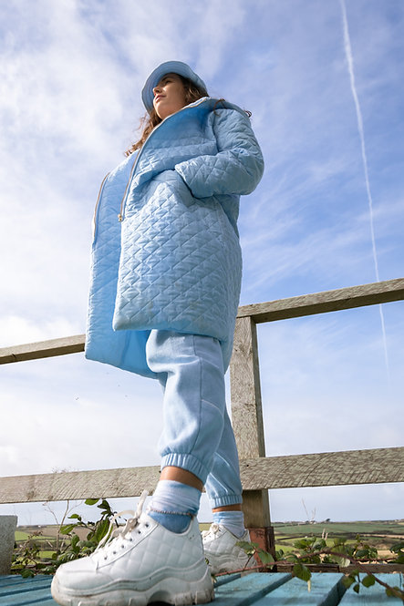 Baby Blue Quilted Hooded Long Coat Pea Street