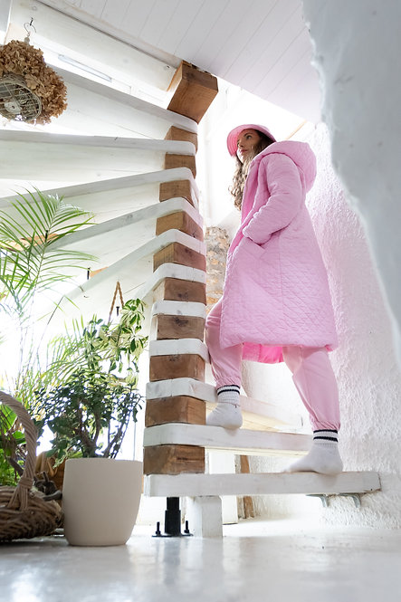 Pink Quilted Hooded Long Coat Pea Street
