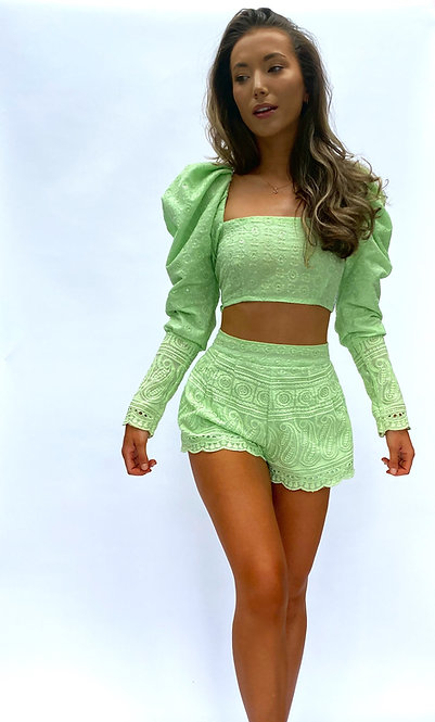 Mint Green Broderie Anglaise High waisted Tailored Shorts