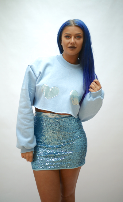 Baby Blue Crop Jumper Blue Metallic Hearts