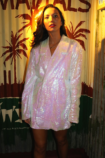White iridescent sequin Oversized Blazer Dress Pea Street