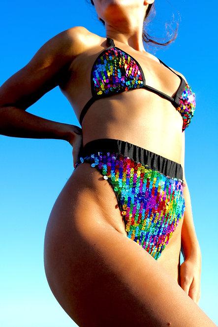 Rainbow Sequin Triangle Peakini Top