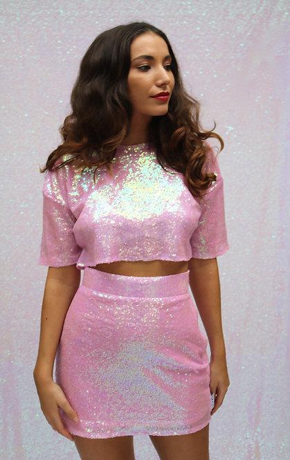 Pink Iridescent Sequin High Waisted Skirt