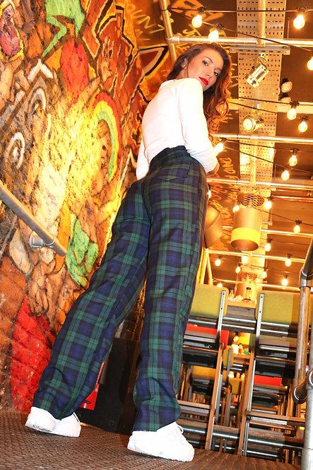 Green Tartan High Waisted Trousers Pea Street