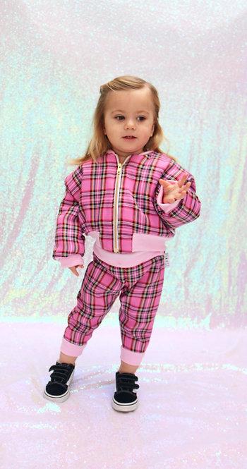 Pea Baby Kids Pink Tartan Trousers