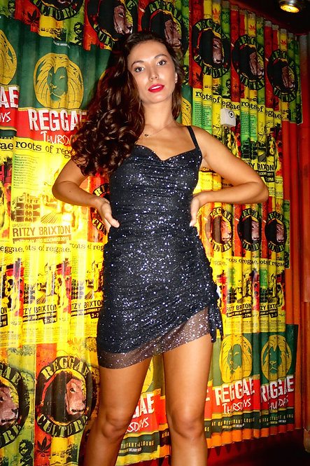 Black Sparkle Sheer Body-con Cow Neck Strap Dress Pea ST