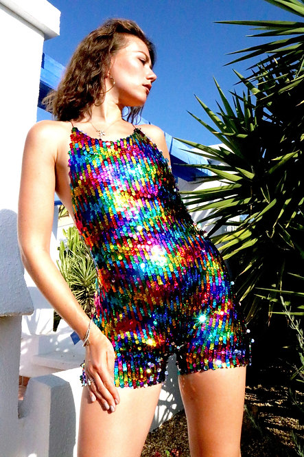 Rainbow Sequin Playsuit